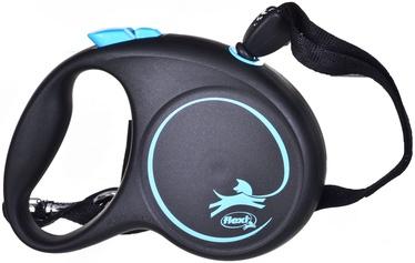 Поводок Flexi Black Design, синий/черный, 5 м