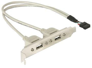 Delock Adapter Bracket USB 10pin to USB x2 Grey 0.30m
