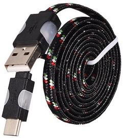 Etui Led Flashing Light USB To Type-C Cable 1m Black
