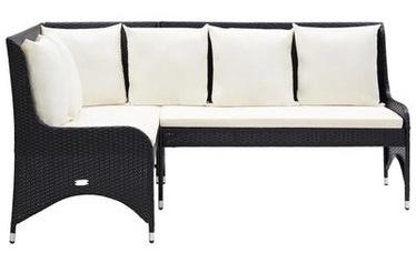 Садовый диван VLX Poly Rattan, черный, 62 см x 130 см x 90 см