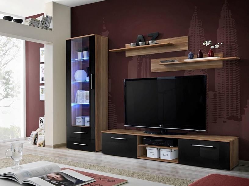 Dzīvojamās istabas mēbeļu komplekts ASM Galino A, brūna/melna