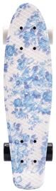 Скейтборд Meteor Multicolor Flower, синий/белый