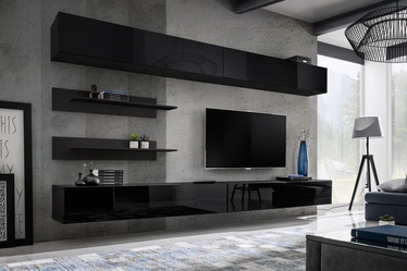 Dzīvojamās istabas mēbeļu komplekts ASM Fly I w/ LED Black
