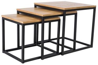 Журнальный столик Signal Meble Trio Black/Oak, 500x500x500 мм