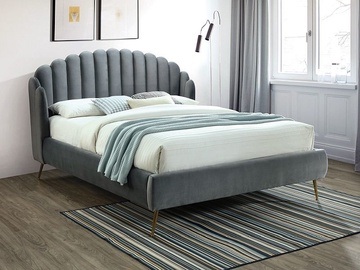 Signal Meble Calabria Velvet Bed 160x200cm Grey
