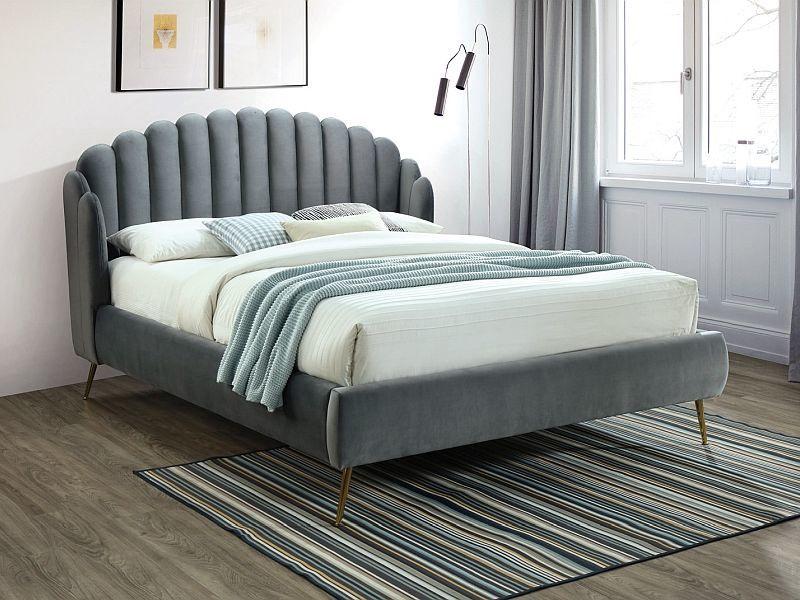 Signal Meble Calabria Velvet Bed 160x200cm Grey