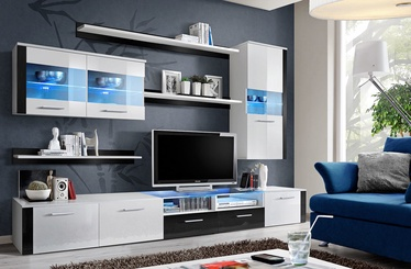 ASM Logo Fresh Living Room Wall Unit Set White/Black