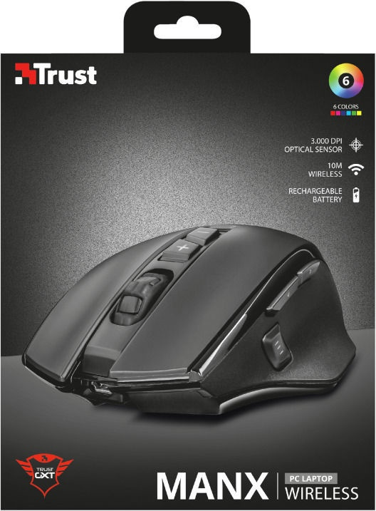 Trust GXT 140 Manx Rechargeable Wireless Mouse Black