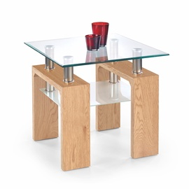 Kafijas galdiņš Halmar Diana H Kwadrat Golden Oak/Glass, 600x600x550 mm
