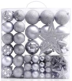 Ziemassvētku eglītes rotaļlieta DecoKing BUB/STAR/SL/100PCS, sudraba, 60 mm, 100 gab.