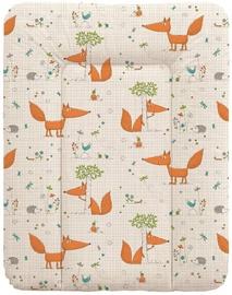 Matracis autiņu maiņai Ceba Baby Small Fox Ecru, 70x50 cm, balta/oranža