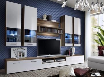 Dzīvojamās istabas mēbeļu komplekts ASM Dorade White/Plum