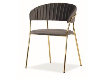Ēdamistabas krēsls Signal Meble Lira Velvet Grey/Gold, 1 gab.