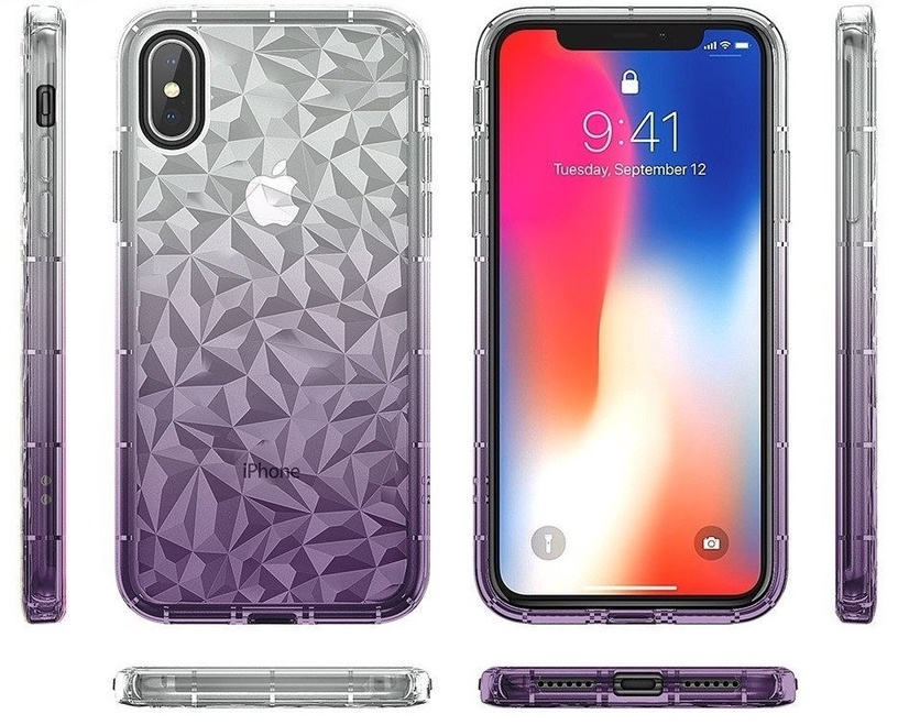 Mocco Trendy Diamonds Back Case For Huawei Mate 20 Lite Purple