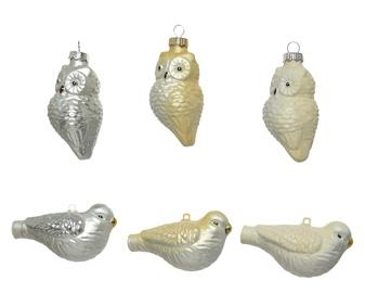 Ziemassvētku eglīšu rotaļu putns, stikls, 4,5 cm