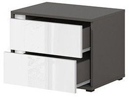 Black Red White Graphic Night Stand Left White/Wolfram Grey