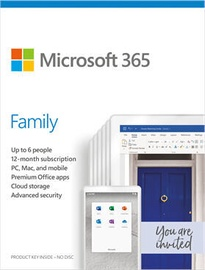 Microsoft Office 365 Family Retail 1-Year English License Medialess