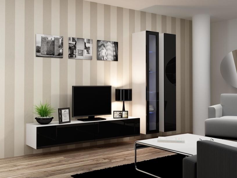 Cama Meble Vigo 180 Glass Case White/Black Gloss