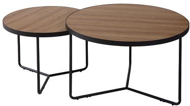 Kafijas galdiņš Signal Meble Italia, melna/valriekstu, 600 mm x 600 mm x 450 mm