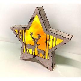 Niveda Illuminated Plywood Star 24cm