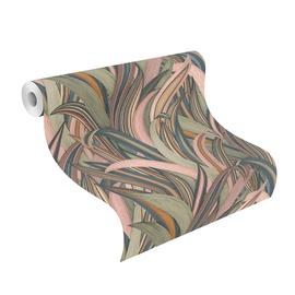 Tapetes Rasch Amazing 541243, vinila, zaļa/rozā/smilškrāsas