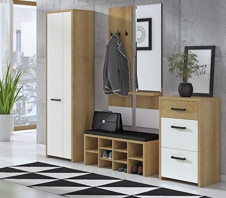 ML Meble Hallway Unit Gloss 1 Riviera Oak/White