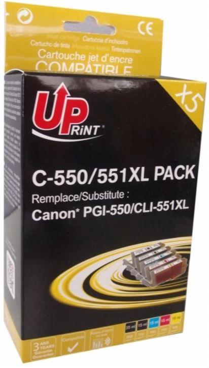 Uprint Cartridge For Canon Black Grey Magenta Yellow