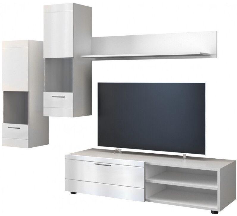 Dzīvojamās istabas mēbeļu komplekts Top E Shop Spider White/White Gloss