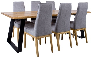 Home4you Dining Room Set Rotterdam 7pcs Grey/Black/Oak