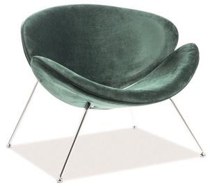 Atzveltnes krēsls Signal Meble Loft Major Velvet, zaļa/hroma, 84x49x72 cm