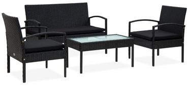 Āra mēbeļu komplekts VLX Poly Rattan Lounge Set 4 Piece, melns, 3-4 sēdvietas