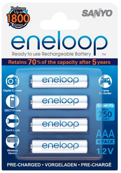 Sanyo Eneloop Ready To Use Rechargeable Battery 4x AAA 800mAh