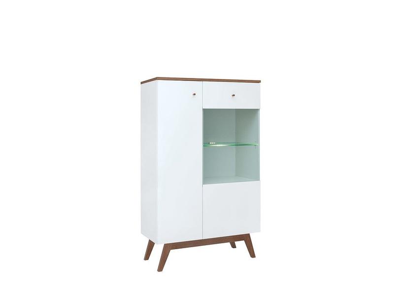 Black Red White Heda REG1D1W Glass Door Cabinet White/Larch Sibiu Gold