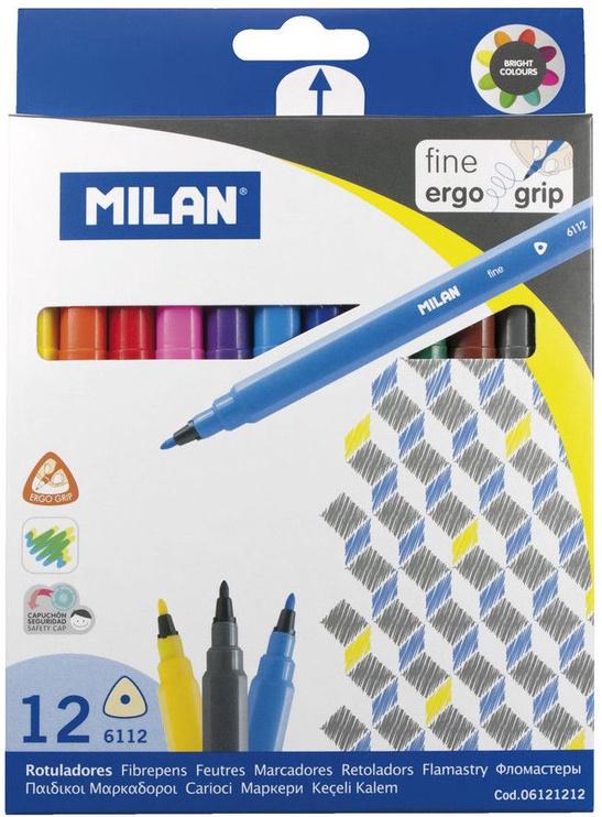 Milan Triangular Fine Tipped Fibrepens 12pcs 6121212