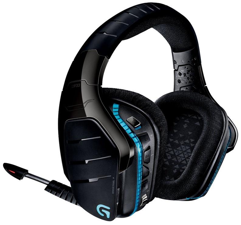 Spēļu austiņas Logitech G933 Artemis Spectrum Black/Blue, bezvadu