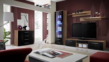 Dzīvojamās istabas mēbeļu komplekts ASM Galino B Plum/Black Gloss