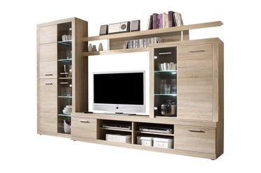Black Red White Cancan 4 Wall Unit Sonoma Oak