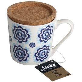 Maku Mug With Lid 9.5x9cm 400ml White/Blue