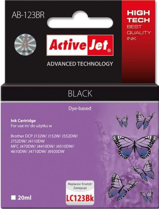 ActiveJet Cartridge AB-123BR For Brother 20ml Black