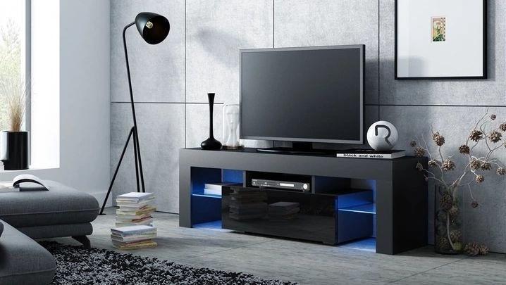 ТВ стол Pro Meble Milano 130 Black, 1300x350x450 мм