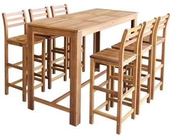 Ēdamistabas komplekts VLX 7 Pieces Solid Acacia Wood 246671, brūns