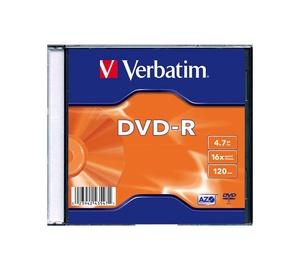 DISKS DVD-R 4,7 GB 16X PLĀNĀ KASTĪTĒ (VERBATIM)