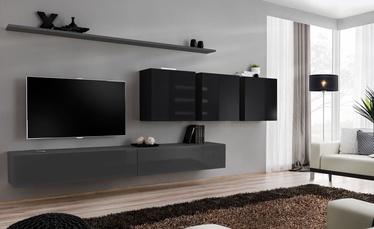 Dzīvojamās istabas mēbeļu komplekts ASM Switch VII, melna/pelēka