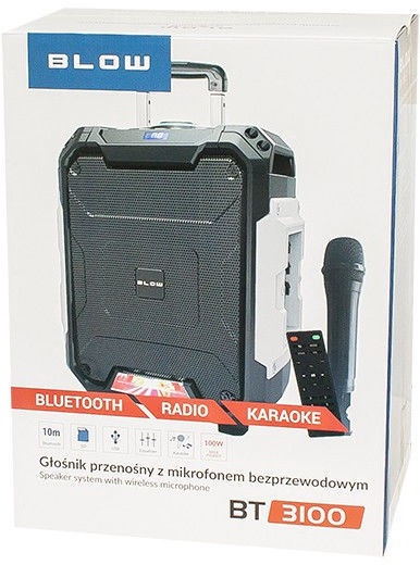 Bezvadu skaļrunis Blow BT3100, melna, 100 W