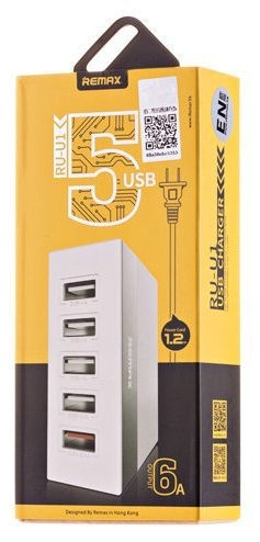Remax RU-U1 Desk Charger 5x USB 6A 1.2m Silver