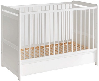 ASM Baby Cot Tymek with Mattress White