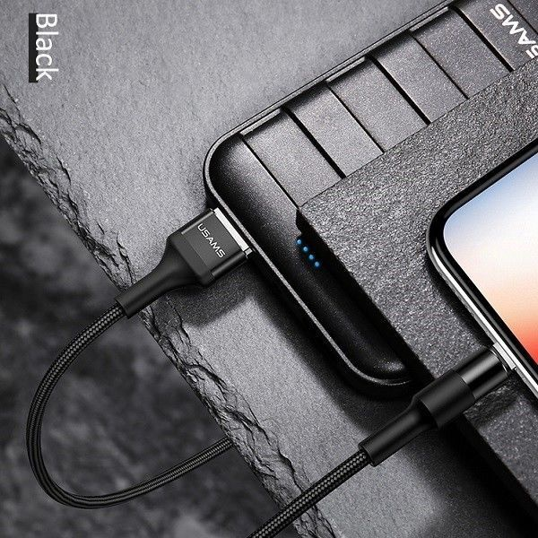 Usams U5 Braided Wire USB To Apple Lightning Cable 1.2m Black