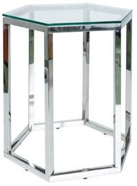 Kafijas galdiņš Signal Meble Lawa Conti Transparent/Silver, 490x410x500 mm