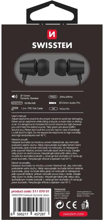 Наушники Swissten YS500 in-ear, черный