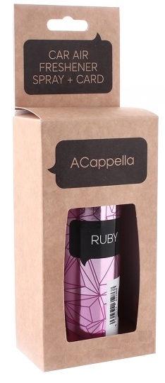 """ACapella Car Air Freshener 2in1 Spray Plus Pendant Card """"Ruby"""" 50ml"""
